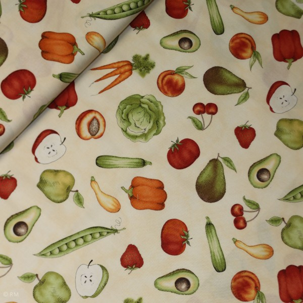 "Bomuld ""From the Farm"" Tossed Fruits Veggies Tan"