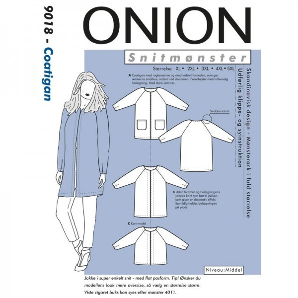 "Snitmønster Onion 9018 ""Coatigan"" str XL - 5 XL"