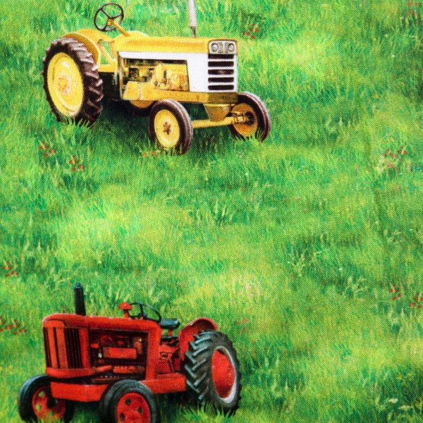 "Bomuld ""Down on the farm - traktorer"" by Robert Kaufmann"