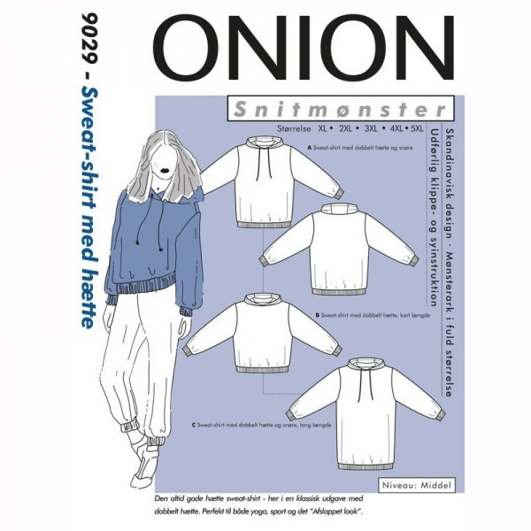 "Snitmønster Onion 9029 ""Sweat-shirt med hætte""..."