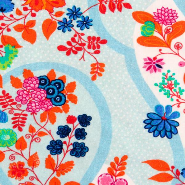 Bomuldsjersey Flora Blomsterdråber blå