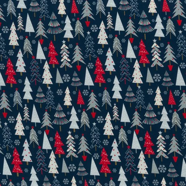"""Bomuldsjersey """"Jesse"""" Juletræ blå"""