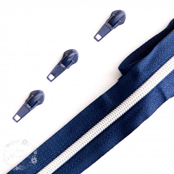 Sølv lynlås kollektion - 6,5 mm brede 1 meter lang med 3 glider
