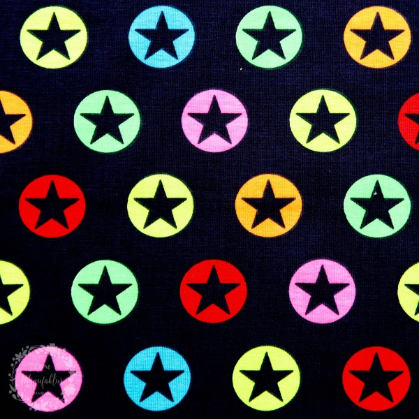 """Bomuldsjersey """"Stjerner"""" neon"""