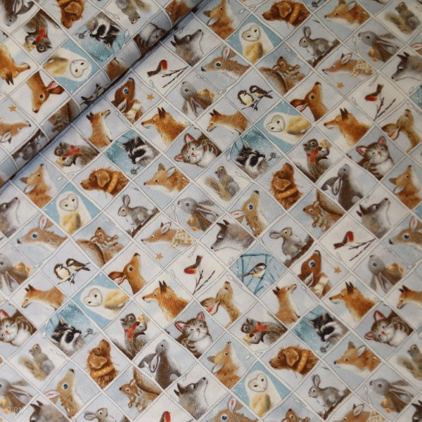"""Bomuld """"Woodland Friends - Animal Patch blue"""" by Sarah Summers"""
