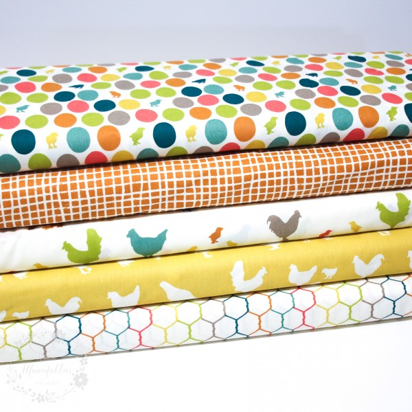 "BIO-Bomuld ""Farm Fresh"" ff06sun fra Birch Fabrics"