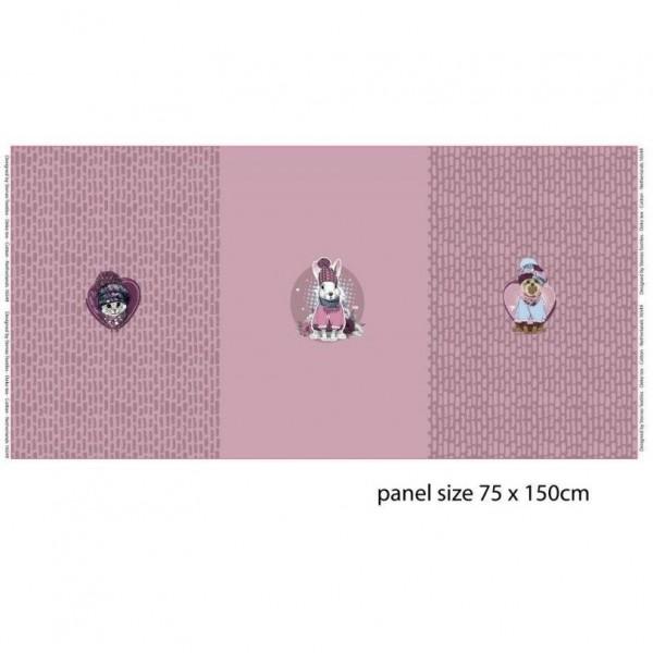 """75 cm French Terry-Panel """"Vinter dyr"""" fra Stenzo"""