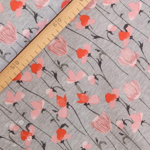 Softshell grå-melange med blomster