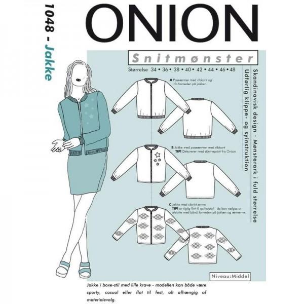 """Snitmønster Onion 1048 """"Jakke sporty box-stil"""" str 34 - 48"""