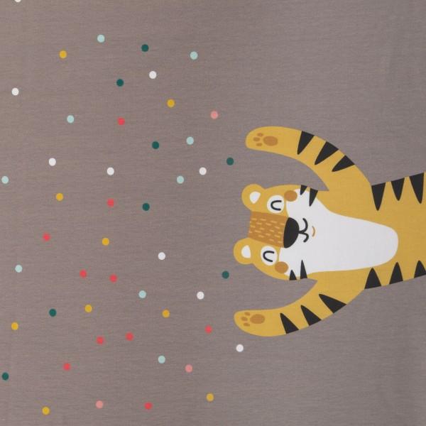 "Bomuldsjersey Panel ""Hurra Konfetti Tiger & Panda"" by Käselotti"