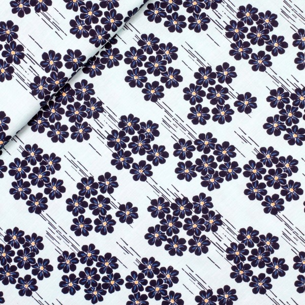 """Bomuldsjersey """"Avalana"""" 19-484 - blå blomster"""