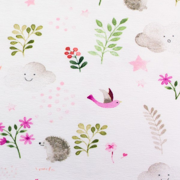 "Bomuldsjersey ""Little Spring"" garden lyserød"