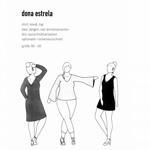"""Snitmønster Dame-Kjole """"Dona Estrela"""" str 50 - 60"""