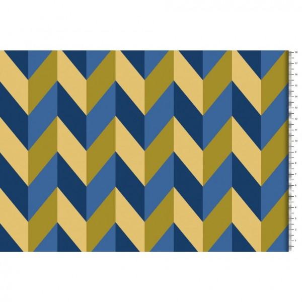 """Quiltet stof fra """"Hamburger Liebe"""" blå og gul"""