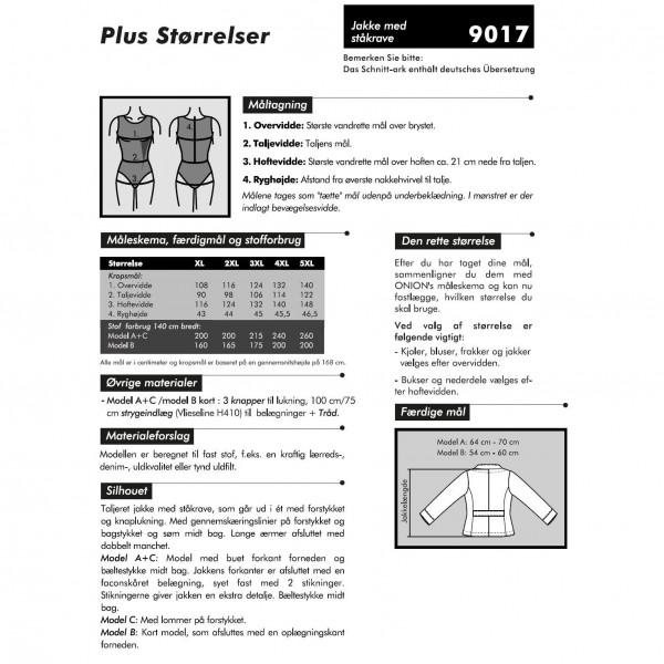 """Snitmønster Onion 9017 """"Jakke med ståkrave"""" Plusstørrelser XL - 5 XL"""