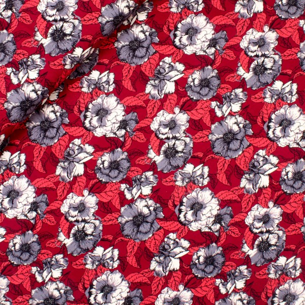 """Bomuldsjersey """"Avalana"""" 19-233 blå blomster"""