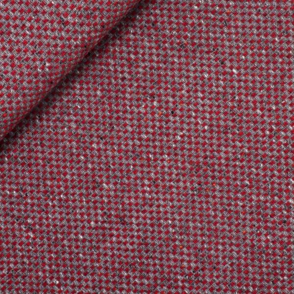 Uldstof med strik-mønster rød-grå