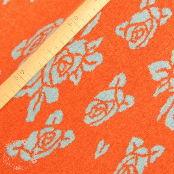 """Merino-Uld """"Luzern"""" med roser orange/grå"""