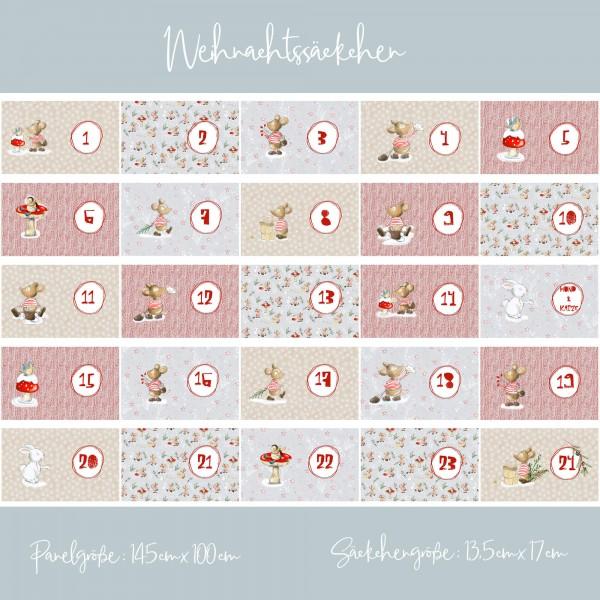 """100 cm BIO-Bomuld-Panel """"Weihnachtssäckchen""""..."""