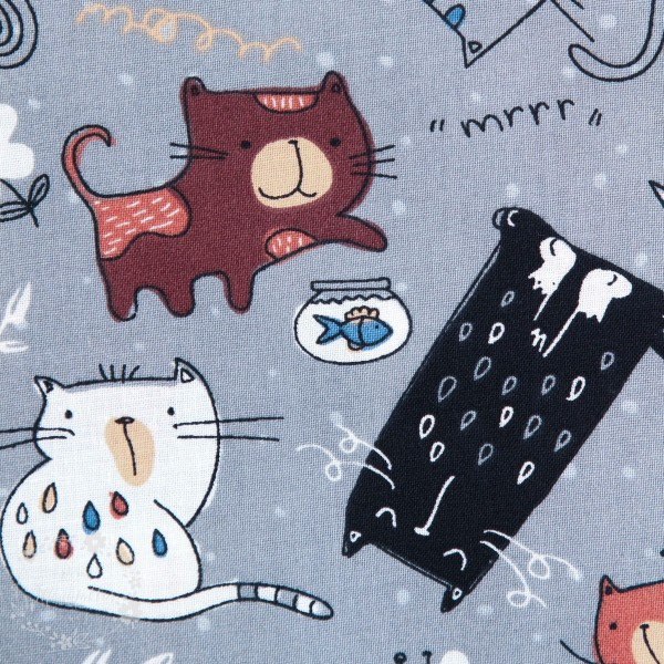 """Bomuld """"Cats Meow"""" 12456-grey"""