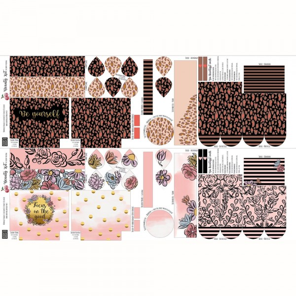 "100 cm Bomuldsjersey-Panel ""Beauty Kit"" by Cherry Picking (2 Designs)"