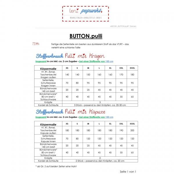"""Snitmønster LeniPePunkt 84 """"BUTTON.pulli"""" str XS - XXXL"""