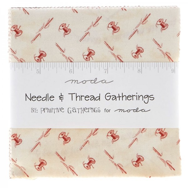 "Charm Pack 5`` Square ""Needle & Thread Gatherings"" fra moda"