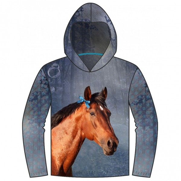 """120 cm French Terry-Panel """"Vinter heste"""" fra..."""