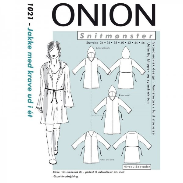 """Snitmønster Onion 1021 """"Jakke med krave /..."""