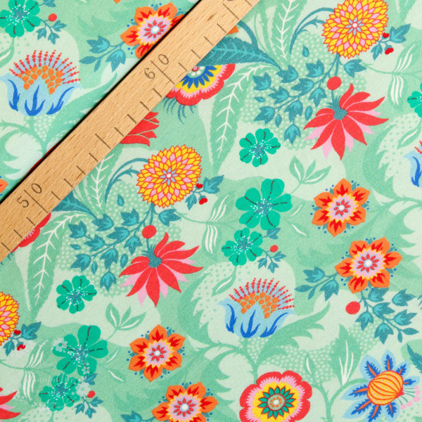 Bomuldsjersey Flora Blomster grøn