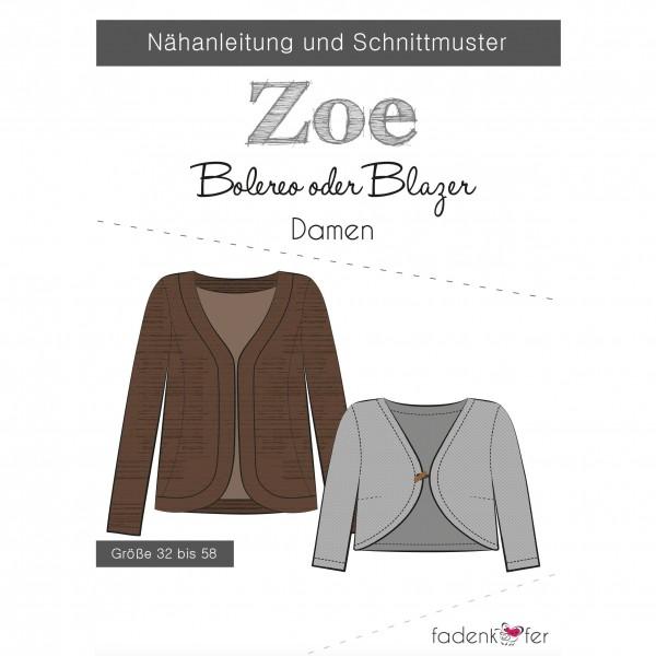 """Snitmønster blazer eller bolero """"Zoe"""" Dame str 32 - 58"""