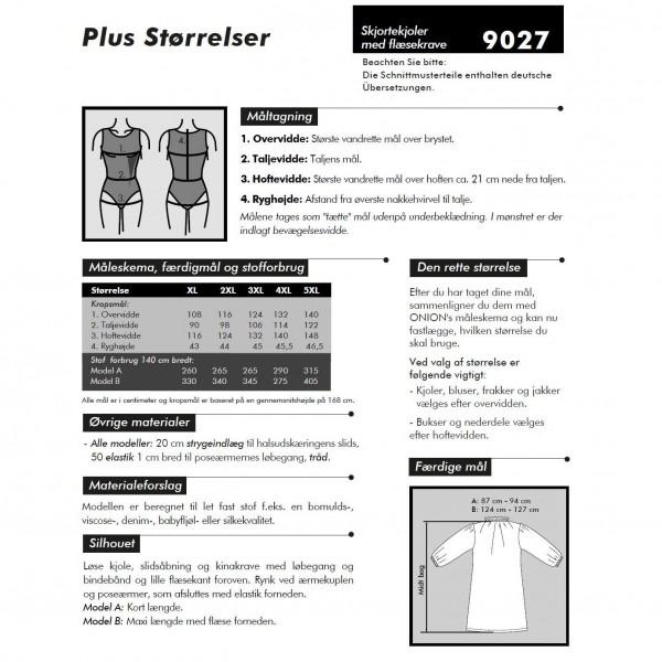 """Snitmønster Onion 9027 """"Skjortekjoler med flæsekrave"""" Plusstørrelser XL - 5 XL"""