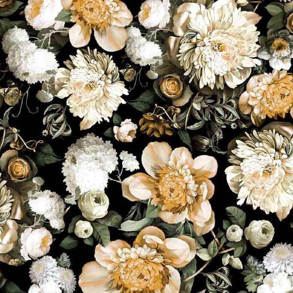 """Bomuldsjersey """"Flowers in the Dark"""""""