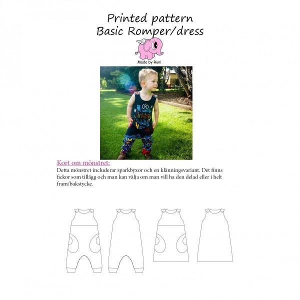 "Snitmønster til børn ""Basic Romper / Dress"" str 50 - 110"