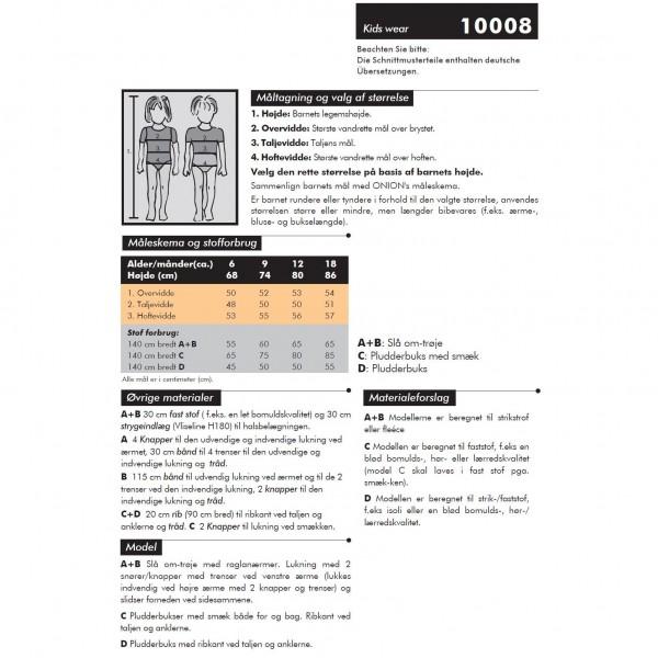 "Snitmønster Onion Kids Wear 10008 ""Slå om-troje & pludderbuks"" str 68 - 86"