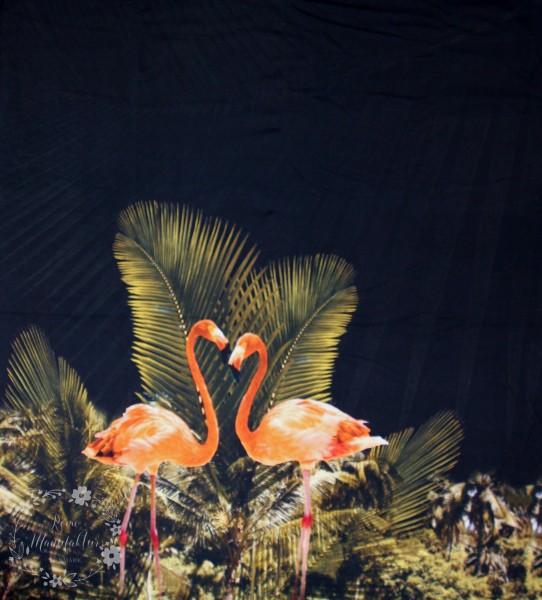 "105 cm Bomuldsjersey-Panel ""Flamingo"""