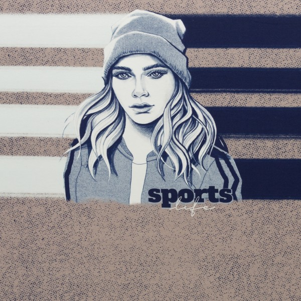 """80 cm French Terry Panel """"Sporty Girl"""" by Thorsten Berger"""