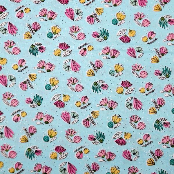 """Bomuld """"Catnip"""" Small Floral Aqua (508243)"""