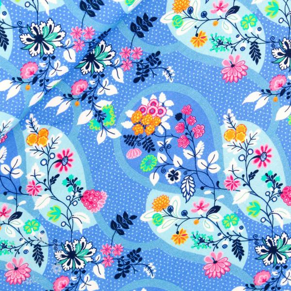 Bomuldsjersey Flora Blomsterdråber blå 2