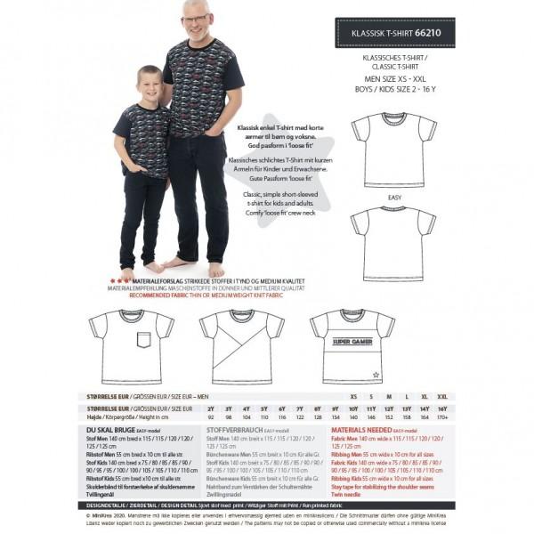"Snitmønster minikrea 66210 ""Klassisk T-Shirt"" str 2-16 Y + XS-XXL"