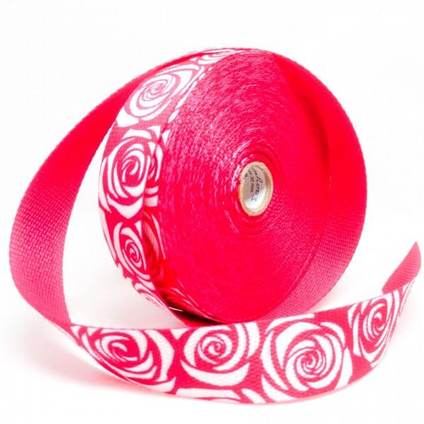 Gjordbånd rød med roser