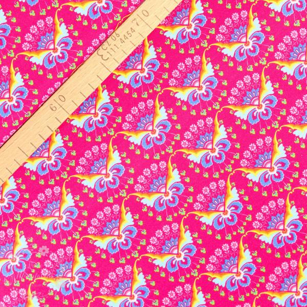 Bomuldsjersey Flora sommerfugl pink