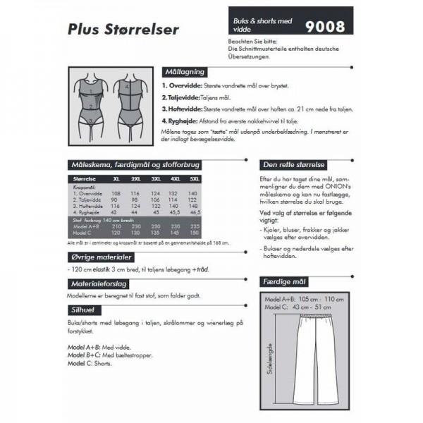 """Snitmønster Onion 9008 """"Buks & shorts med vidde"""" str XL - 5 XL"""