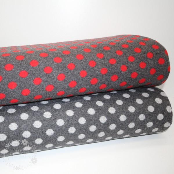 """Merino-Uld """"Stockholm"""" med prikker rød/grå"""