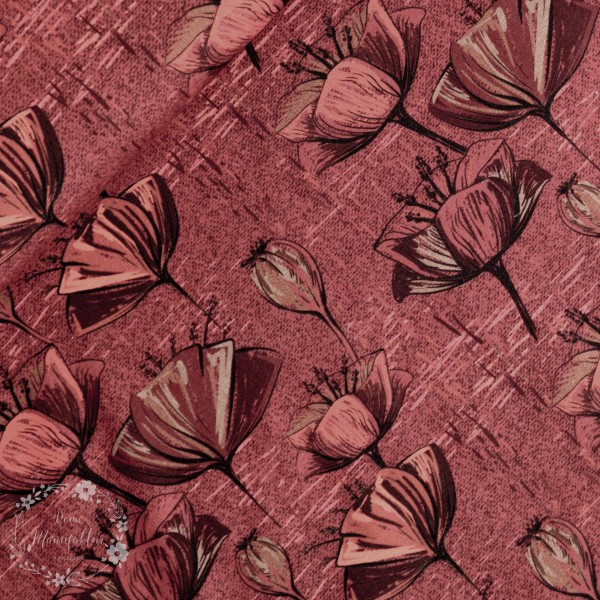 """Bomuldsjersey """"Red flower"""""""