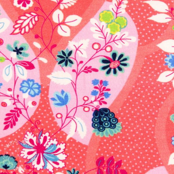 Bomuldsjersey Flora Blomsterdråber koralle