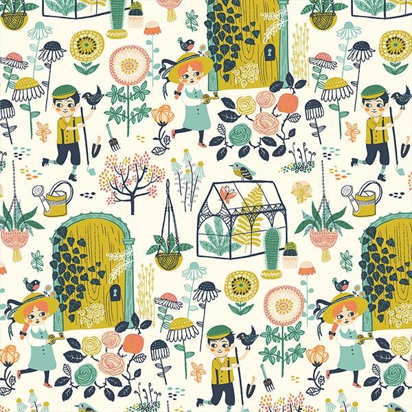 """BIO-Bomuldsjersey """"Hidden Garden Knit - kmi10"""" fra Birch Fabrics"""