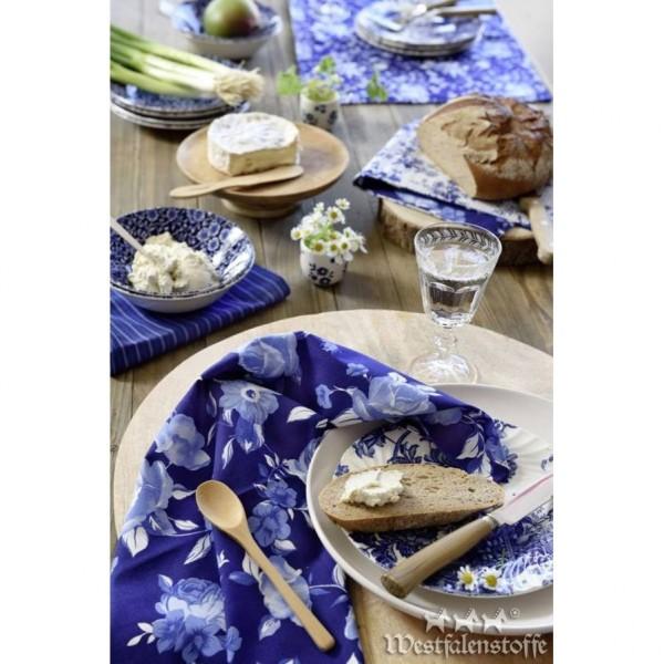 "Bomuld ""Delft"" blå med blomster"