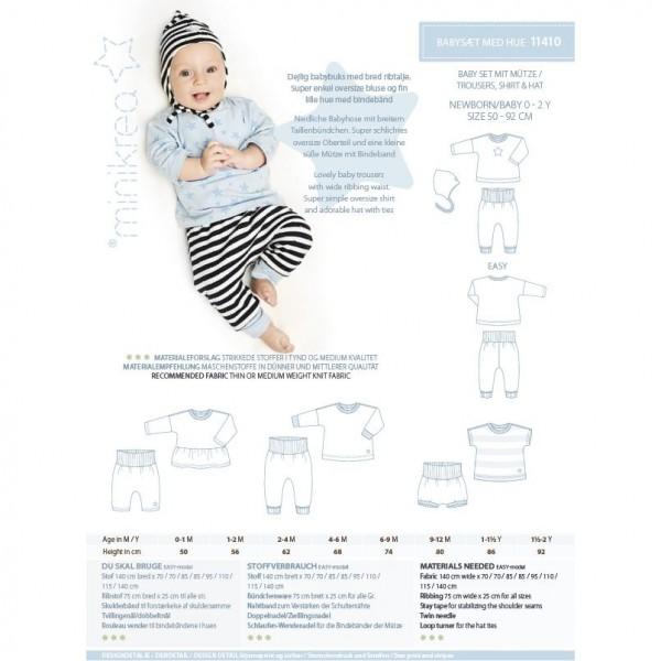 "MiniKrea Snitmønster 11410 ""Babysæt med hue"" str 50 - 92 (0 - 2 Y)"