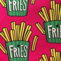 "French Terry ""Fries"" pink fra Hilco"